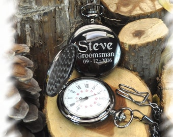 Pocket Watch , Groomsmen Gift , Engraved Mens  Steampunk Pocket Watch engraved, Monogrammed Watch, Gift for Groom, personalized pocket watch
