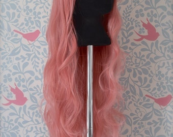 Long Wavy Baby Pink Wig 80cm