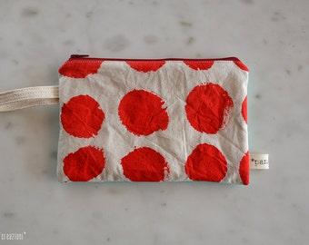 hand painted zipper pouch // cotton // red dots + green // polka dot