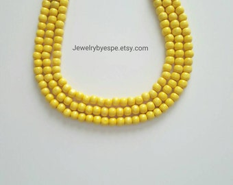 Yellow Statement Necklace, Yellow Wedding Jewelry, Yellow Multi Strand Necklace, Yellow Chunky Layered Necklace