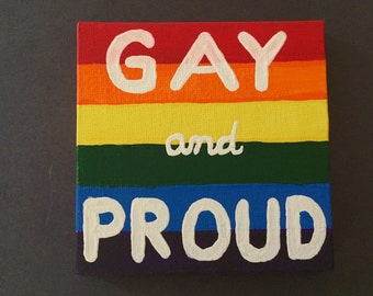 Gay Pride Flag Handprinted Acrylic Painting - LGBT,