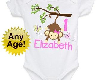Monkey 1st Birthday Outfit, Birthday Girl Shirt, Mod Monkey 1st, Birthday Girl Mod Monkey Shirt, 1st Butterfly Outfit, Girl 1st Birthday