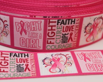 Breast Cancer Ribbon 1 Inch Grosgrain Ribbon by the Yard for Hairbows, Scrapbooking, and More!!