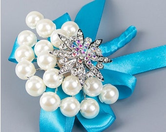 Elegant Blue Boutonniere - Pearls and Rhinestones