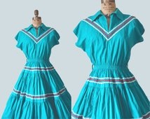 50s Emerald Patio Dress // Full Skirted Western Frock // M