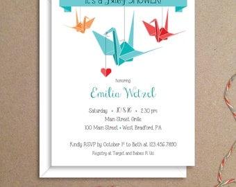 Baby Shower Invitations - Origami Crane Invitations - Party Invitations - Illustrated Invitations - Custom Invitations