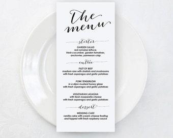 Wedding Menu Template, Wedding Menu Cards, Printable Wedding Menu, Editable Text, diy Wedding Menu, Rustic Wedding Menu Template, 001