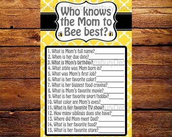 Who Knows the Mom to Bee Best - Baby Shower Game - Bee Theme - Baby Sprinkle - Printable - Digital Download - Mommy to Bee - Bee Party