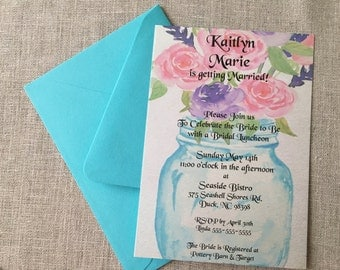 Elegant Rustic Pink & Purple Flower Blue Mason Shower Invitation - Bridal or Baby - DIGITAL- DIY - PRINT