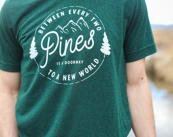 Between Two Pines Men's Tee | Hand Screen Printed T-Shirt | emerald