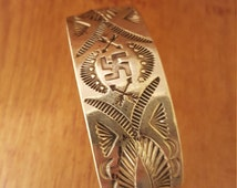 Early Silver Stamped Whirling Log Bracelet Navajo Native American Repoussé Vintage Old