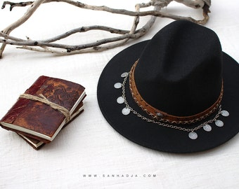 BOHO CUSTOM - Customize your own hat - leather headband and beads metal