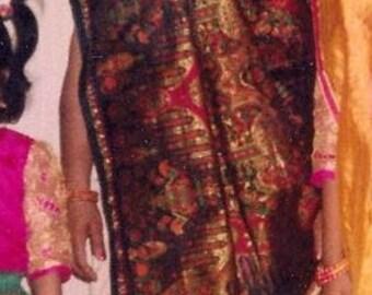 Pure Silk Vintage Sari, 1991 Sari, Cream and Black, Woven pallu/pallav,  beautiful heavy pallu with multicolored woven design,