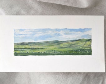 Green Field Oil Painting on Paper