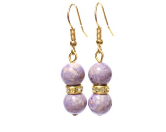 Earrings, purple earrings, stone earrings, purple riverstone earrings, bridesmaid earrings, dangle earrings, drop earrings