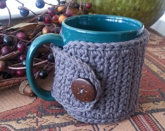 Crochet Coffee Mug Holder Grey