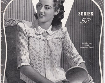 Cardigan PDF Pattern Short Sleeve Knitting Patterns 1940s Womens Clothing Digital Download Casual Top Knit Pattern Spring Fashion Knitting