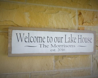 Welcome to Our Lake House Wood Sign Personalized Wooden Sign Established Sign Welcome Sign 24x6