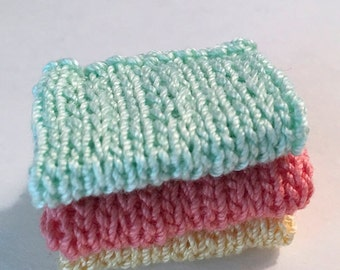 Miniature Faux Shelf Blankets - Shabby Chic Hand Knitted - Stack of 3 -Pastel Green, Coral, Yellow