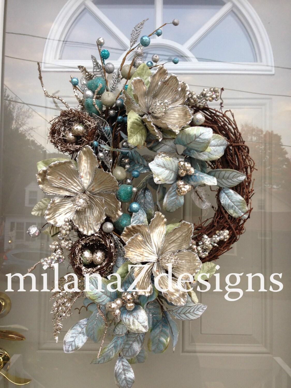 Silver Christmas Wreath Blue Hanukkah Wreath Winter Holiday