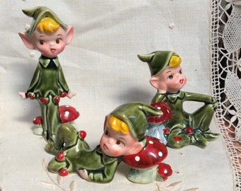 Made in Japan #4193 Elves Pixies Christmas set of 3