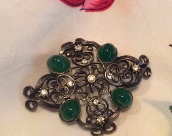 Beautiful Green Cachabon Vintage Japanned Filigree Brooch Pin