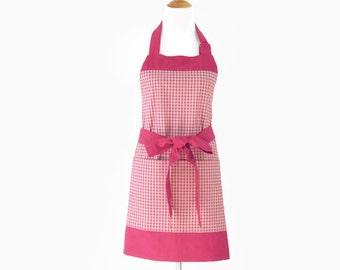 Plus Red Plaid Apron,  Plus Red Apron, Plus Personalized Plaid Apron, Plus Large Pockets Red Kitchen Apron, Apron Gift for Mom