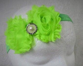 Lime Green  Shabby Chic Baby Headband, Baby Girl Headband, Baby Flower Headband, Newborn Headband, Little Girl Headband, Flower Headband
