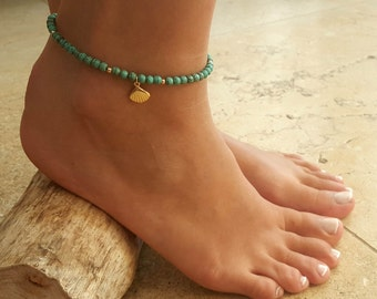 Turquoise Anklet - Turquoise Ankle Bracelet - Beaded Anklet - Foot Jewelry - Foot Bracelet - Anklets For Women - Summer Jewelry - Beach