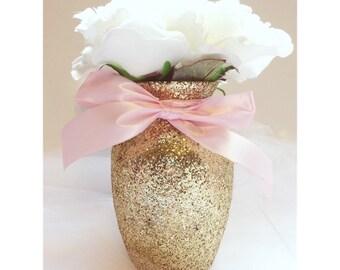 4 Gold & Pink Vases, Baby shower Decorations, Baby shower centerpiece, birthday, Wedding Decorations, first birthday, centerpieces, wedding