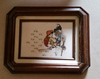 "Kay Harsha 5x7 Vintage Tile Etching ""Boy on Potty"""