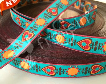 """Woven Ribbon """"Retrolove"""" Turquoise by Nicibiene Lillestoff by the 1 yard"""