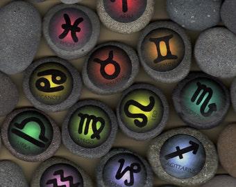 set of 12 astrological stones w/ words; aquarius, pisces, aries, taurus, gemini, cancer, leo, virgo, libra, scorpio, sagittarius, capricorn