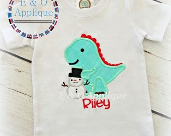 Dino Snowman Applique - Dino Applique - Christmas Dino Applique - Winter Applique Design - Snowman Applique Design