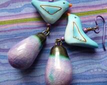 Blue Bird Earrings, Bird Charms, Love Bird Earrings, Porcelain Beads, Ohrringe, Boucles d'Oreilles; tooaquarius, ScorchedEarthOnEtsy