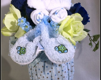 Unique Turtle Baby Boy Vased Baby Bouquet Made of all Baby Items