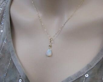 Gold Fire Opal Necklace, Ethiopian Welo Fire Opal, 14K Gold Filled Opal Pendant, October Birthstone, Opal Gemstone Briolette, Opal Jewelry