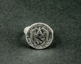 Ring Piece of the Panama from 1969 (thin joint ring in Silver: Eagle and coat of arms)