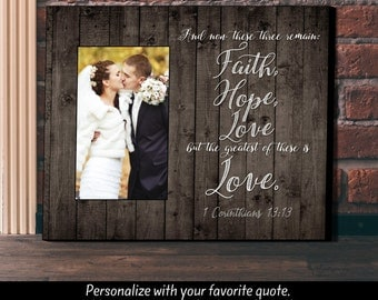 Personalized Picture Frame, Wedding Gift, Anniversary Gift, Picture Frame, Faith Hope and Love