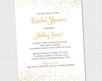 Bridal Shower Invitation | Gold Confetti | Bridal Brunch {Digital File emailed}