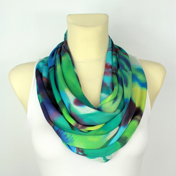 Tropical Womens Scarf Navy Blue Infinity Scarves Turquoise Loop Scarf Indigo Silk Scarf Spring Autumn Summer Funny Gift for her Celebrations