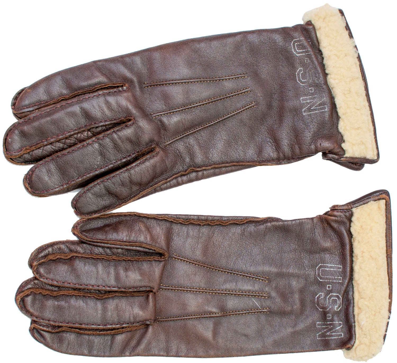 Mens sheepskin gloves uk - 1940s Usn Gloves United States Navy Winter Snow Sheepskin Fur Lined Uniform Military Retro Wwii World War 2 Bomber Pilot Aaf Army Airforce