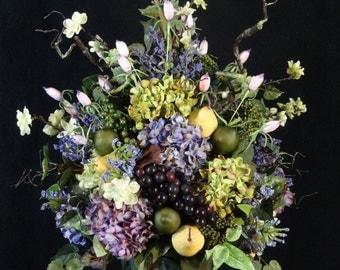 Silk Flower Arrangement,Spring arrangement,floral arrangement,summer arrangement,table centerpiece,all season Arrangement,Hydrangeas,Fruit