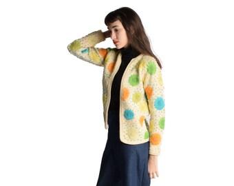 Bright Floral Cardigan Sweater Cream Wool Cardigan Handknit 1960s Vintage Mod Hippie XS S M