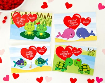 Animal Valentine's Day Card, School Valentines, Class Valentines, Happy Valentines, Cute Valentines, Personalized, Edit with Adobe Reader