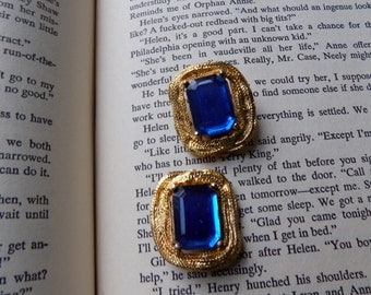 Sapphire Blue, Clip On Earrings, 1950s, Clip Ons, Blue and Gold, Rhinestone, 50s Vintage Earrings, Mid-Century, Vintage Jewelry