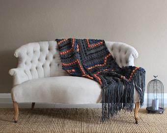 Wool couch blanket, bluky blanket, wool throw, merino wool blanket, wedding gift, merino throw, super bulky blanket, bed runner, bulky throw