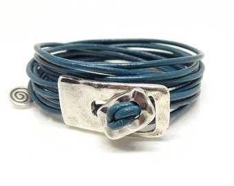 6 Strand Leather Wrap Bracelet with Silver Zamak Metal Rectangle and Button Closure Bracelet (Created in the Spanish Uno de 50 Style)