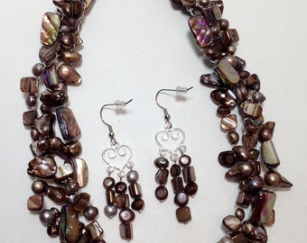 Copper Brown Gold Mauve Purple Silver Freshwater Pearls, MOP Shell, Non-Tarnish Silver Plated Wire, Wire Crochet, Necklace, Earrings