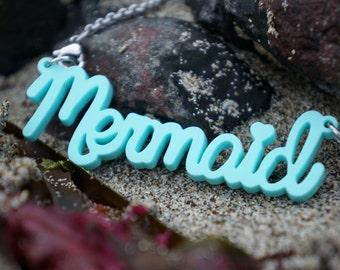 Mermaid Acrylic Necklace. Mermaid Necklace, Mermaid Jewelry, Acrylic Jewelry, Laser Cut Acrylic, Beach Jewelry, Beach Necklace, Mermaid Gift
